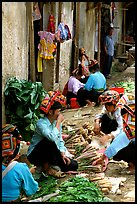 Thai women in the market, Tuan Chau. Northwest Vietnam