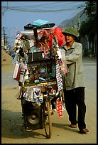 Street vendor uses his bicycle as a shop, Tam Duong. Northwest Vietnam