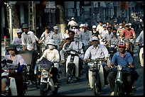 Dense two-wheel traffic. Ho Chi Minh City, Vietnam (color)