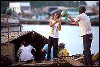 Unloading watermelons from a boat. Ha Tien, Vietnam