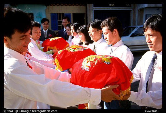 Gifts are exchanged in front of the bride's home. Ho Chi Minh City, Vietnam