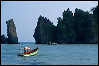 Small boats and offshore rock formations. Hong Chong Peninsula, Vietnam