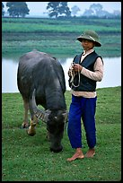 Boy wearing the Boi Doi military hat popular in the North, with water buffalo, near Ninh Binh. Vietnam
