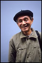 Man wearing the French beret, Hanoi. Vietnam ( color)