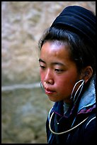 Black Hmong girl in everyday ethnic dress, Sapa. Vietnam