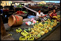 Selling freshly unloaded bananas near the Saigon arroyo. Cholon, Ho Chi Minh City, Vietnam