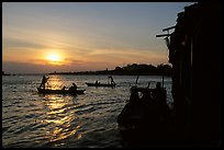 Sunrise on the Hau Gian river. Chau Doc, Vietnam