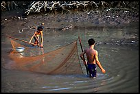 Fishing the river, near Long Xuyen. Mekong Delta, Vietnam