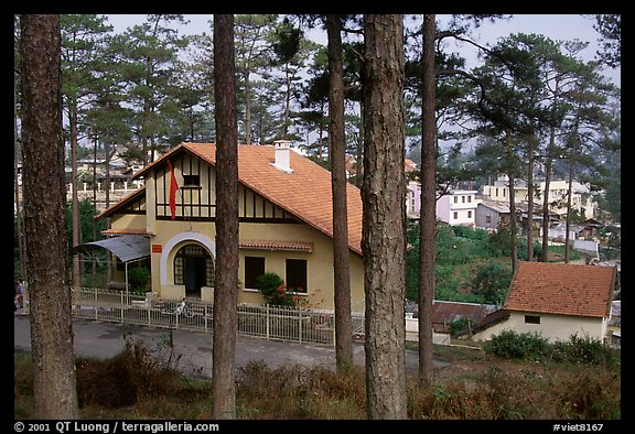 Basque style villa of colonial period in the pine-covered hills. Da Lat, Vietnam