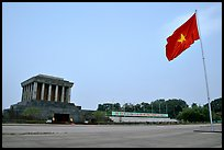 Ho Chi Minh mausoleum and national flag. Hanoi, Vietnam (color)