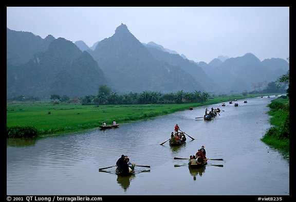 Journey along the river during the festival. Perfume Pagoda, Vietnam