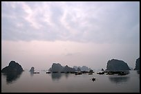 Distant view of the bay with its three thousands limestone islets. Halong Bay, Vietnam