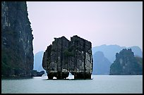 Rock formation standing among the islands. Halong Bay, Vietnam (color)