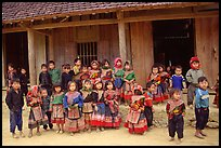 School kids in colorfull everyday dress. Bac Ha, Vietnam